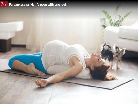 yoga, dong tac yoga cho phu nu mang thai - tu the Paryankasana